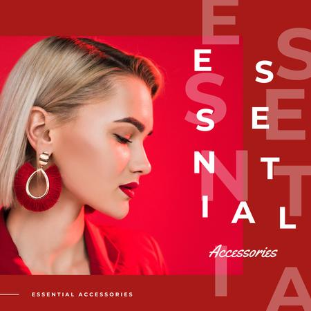 Designvorlage Accessories Ad Young Stylish Woman in Red für Instagram AD