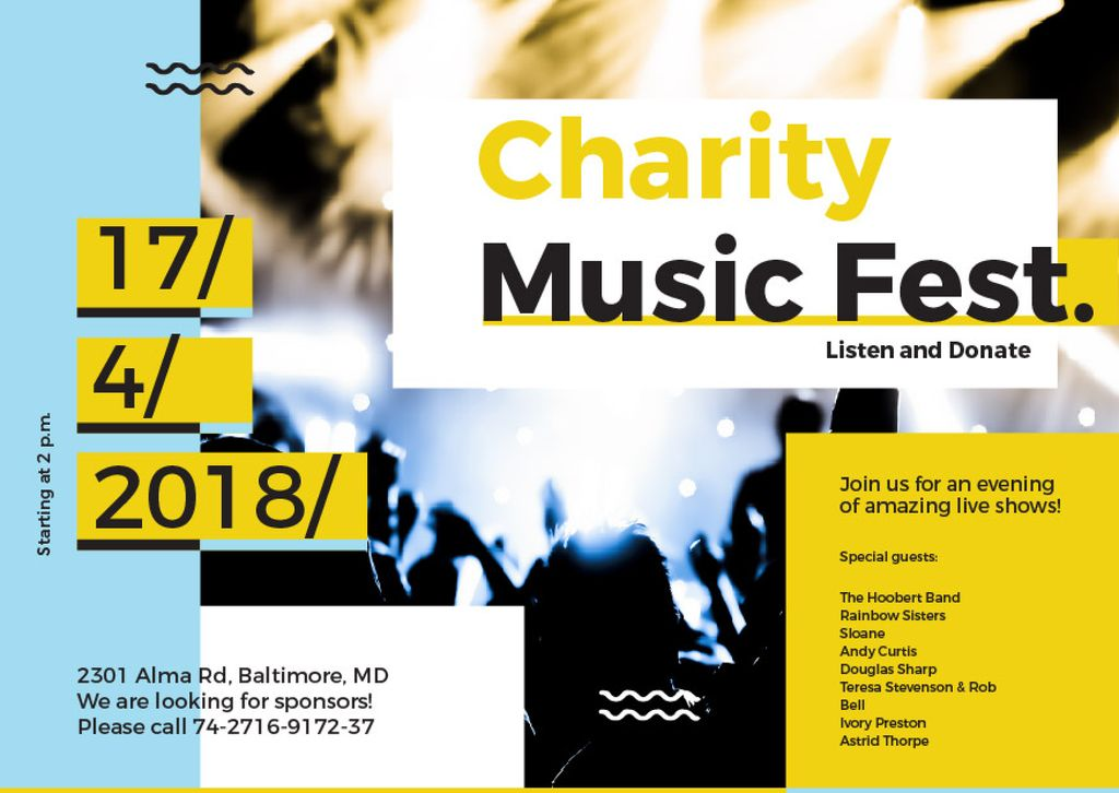 Charity Music Fest Invitation Crowd at Concert — Maak een ontwerp