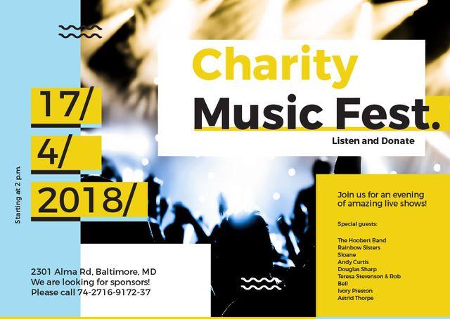 Plantilla de diseño de Charity Music Fest Invitation Crowd at Concert Card