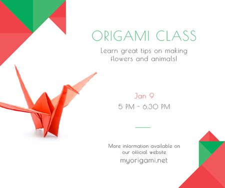 Origami Classes Invitation Paper Crane in Red Large Rectangle Modelo de Design