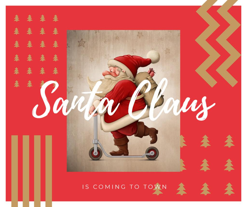 Santa riding kick scooter — Crear un diseño