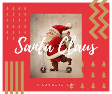 Santa riding kick scooter