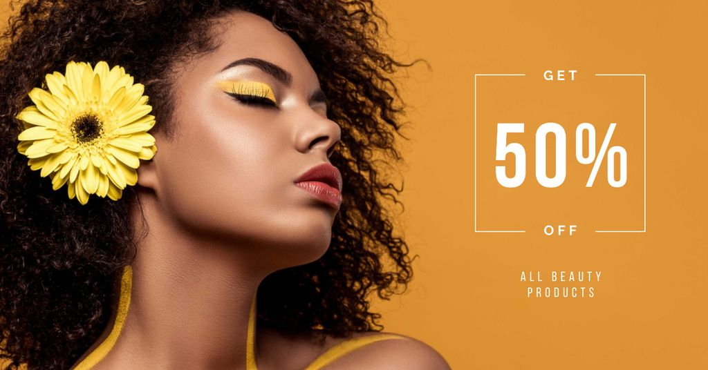 Beauty Products Ad with Woman with Yellow Makeup Facebook AD Design Template