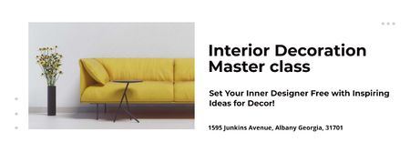 Modèle de visuel Masterclass of Interior decoration - Facebook cover