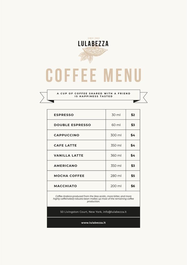 Coffee Shop beverages — Create a Design