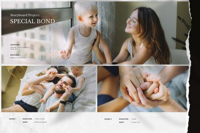 Happy Family with Son at Home Storyboard Modelo de Design