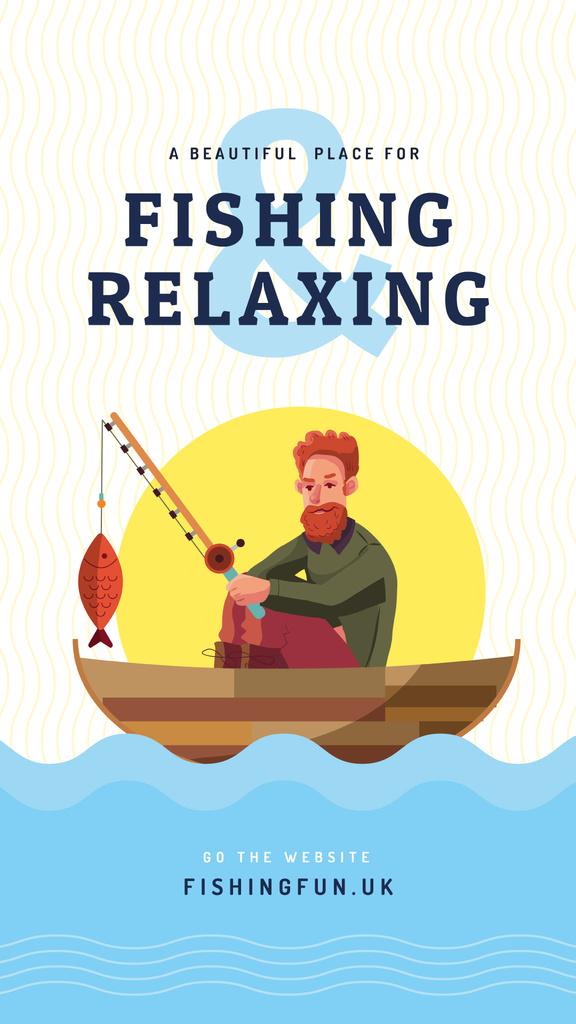 Fisherman with big fish in boat — Crea un design