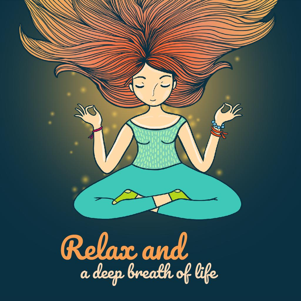 Woman Waving Hair Relaxing and Mediating  | Square Video Template — Crea un design