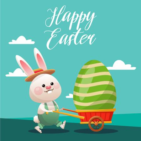 Easter Promotion with Bunny Carrying Coloured Egg Animated Post Modelo de Design