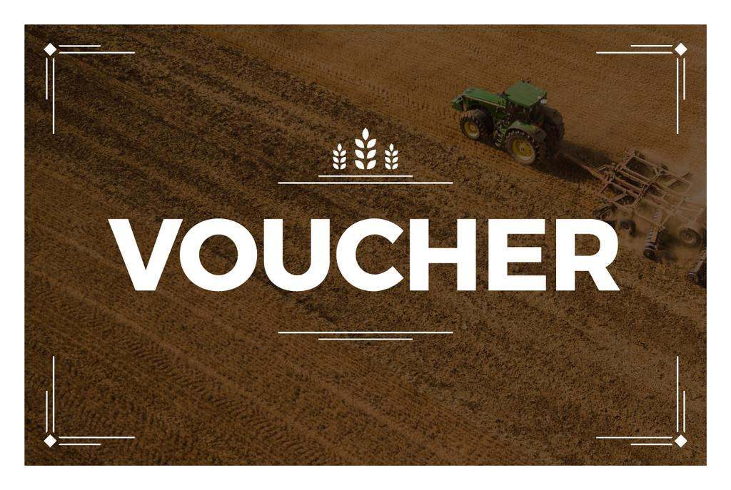 voucher card with tractor on field — Create a Design