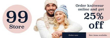 Ontwerpsjabloon van Tumblr van Knitwear store ad couple wearing Hats