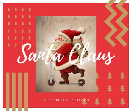 Ontwerpsjabloon van Facebook van Santa riding kick scooter