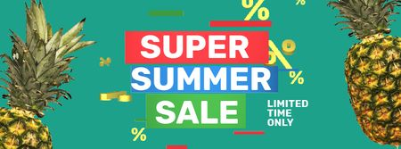 Plantilla de diseño de Summer Sale with rotating Pineapples Facebook Video cover