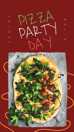 Modèle de visuel Pizza Party Day on red - Instagram Story