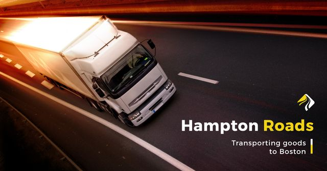 Transporting company with truck on road Facebook AD – шаблон для дизайна