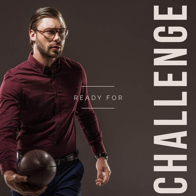Businessman holding football ball Instagramデザインテンプレート