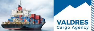 cargo agency banner with ship