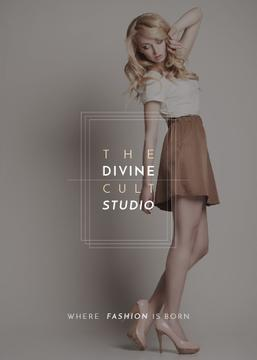 Fashion Studio Ad Blonde Woman in Casual Clothes