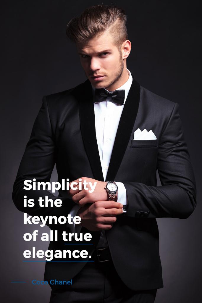 Elegance Quote with Businessman Wearing Suit — Crear un diseño