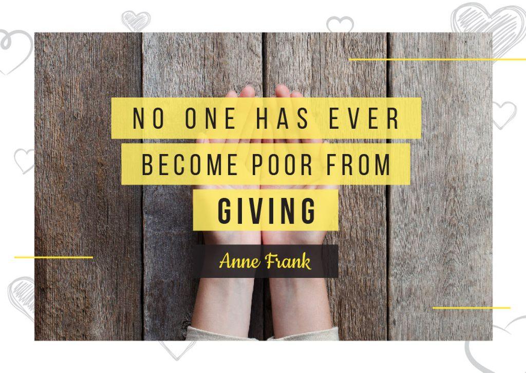 Citation about no one is poor — Maak een ontwerp