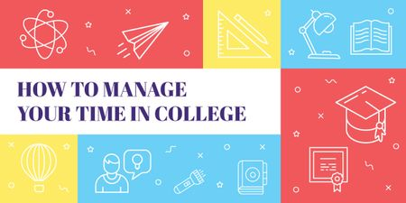 How to manage your time in college poster Image Modelo de Design