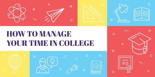 Template di design How to manage your time in college poster Image