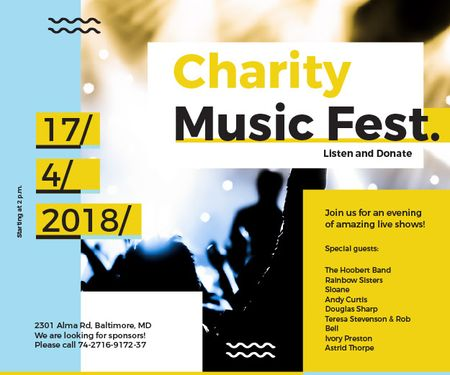 Plantilla de diseño de Charity Music Fest Medium Rectangle