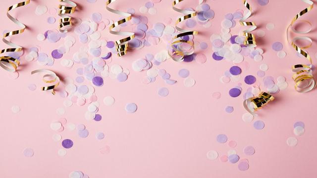 Plantilla de diseño de Holiday golden ribbons and confetti Zoom Background