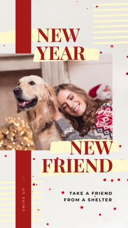 Plantilla de diseño de Woman and dog celebrating Christmas Instagram Story