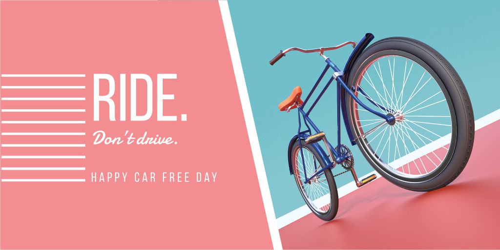happy car free day poster with bicycle — Modelo de projeto