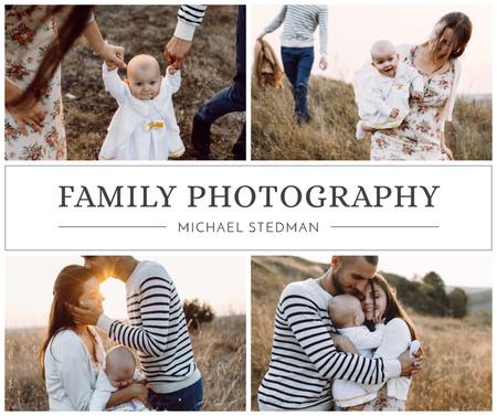 Ontwerpsjabloon van Facebook van Family Photography Loving Parents with Baby