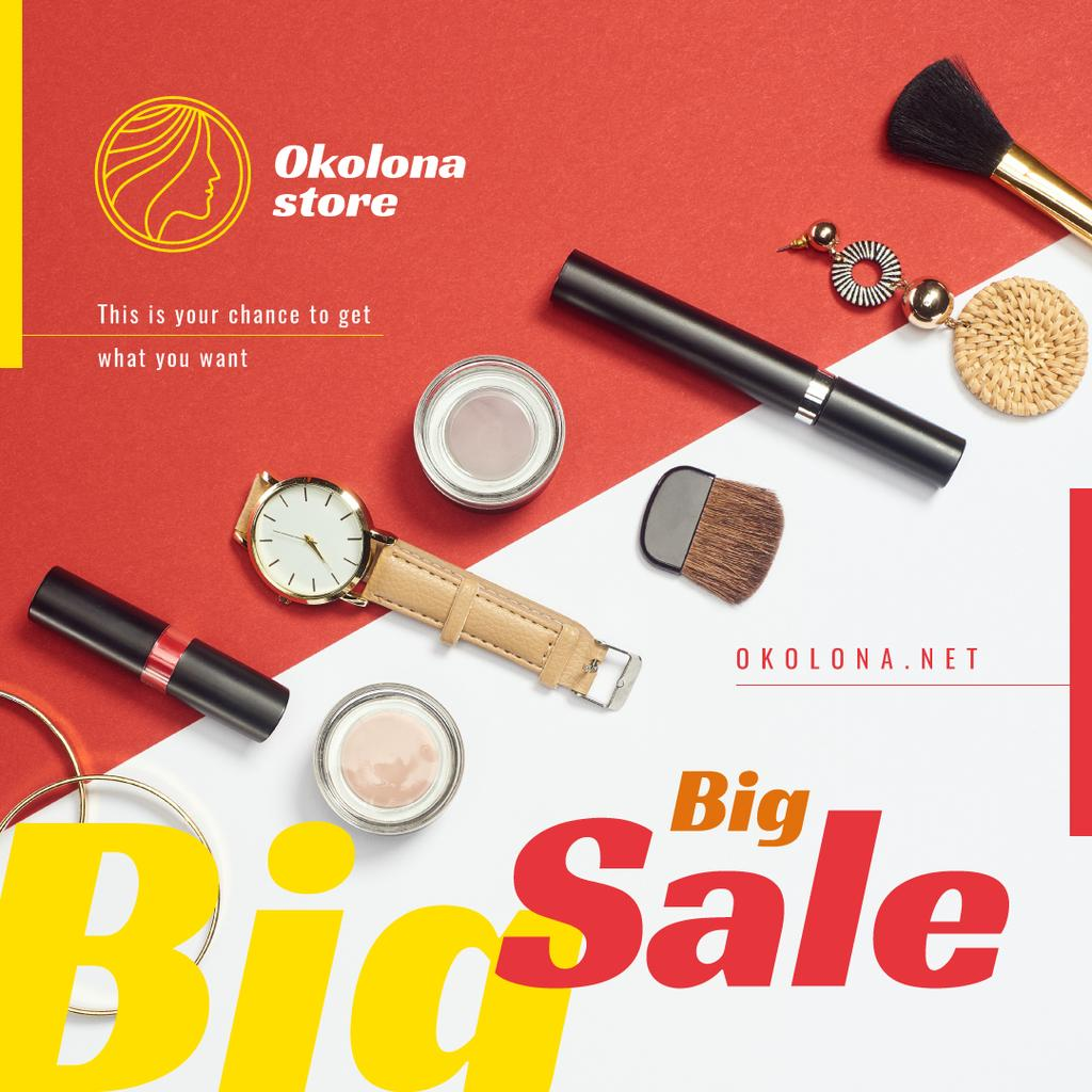 Makeup Sale Ad Cosmetics and Accessories | Instagram Ad Template — Создать дизайн