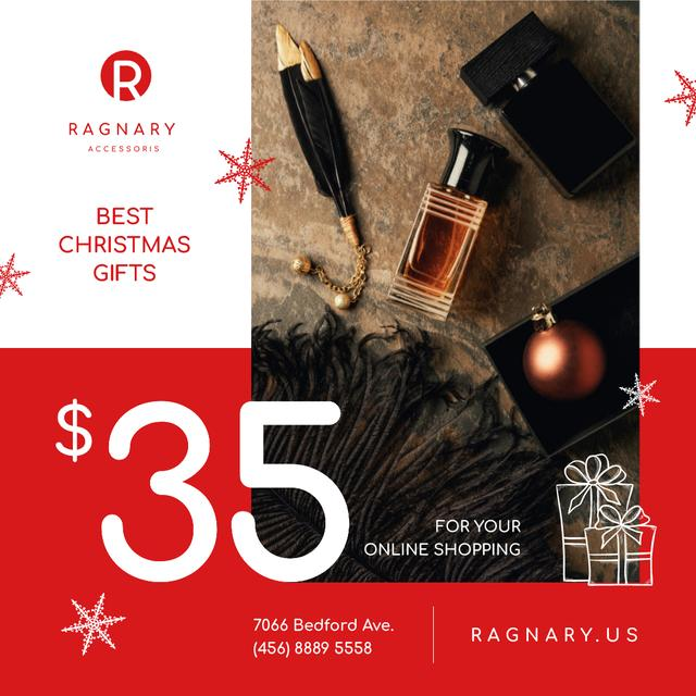 Modèle de visuel Christmas Sale Cosmetics and Shiny Bauble - Instagram