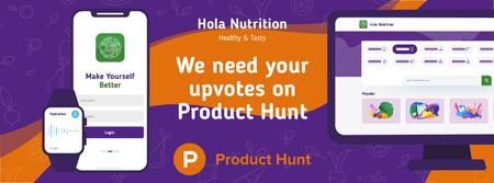 Product Hunt Education Platform Page on Screen Facebook cover Tasarım Şablonu