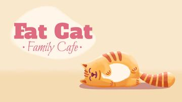 Cafe Invitation Resting Red Cat