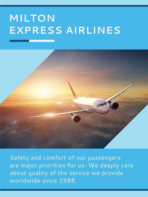 Plane flying in blue sky Poster US – шаблон для дизайну
