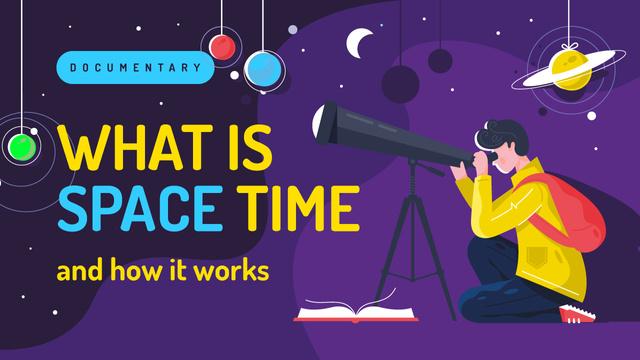 Space Theme Man with Telescope Watching Sky Youtube Thumbnail – шаблон для дизайну