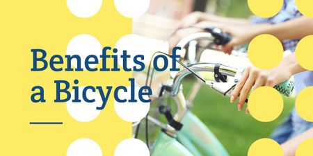 Benefits of a bicycle poster with woman holding handlebar Image Design Template