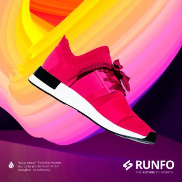 Sporting Goods Ad with Running Pink Sports Shoe