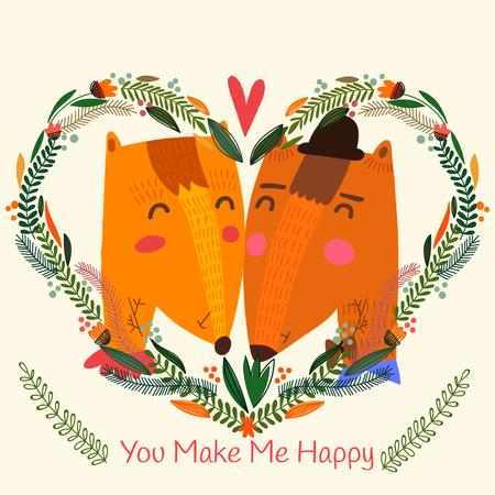 Plantilla de diseño de Embracing Foxes in Heart frame for Valentine's Day Animated Post