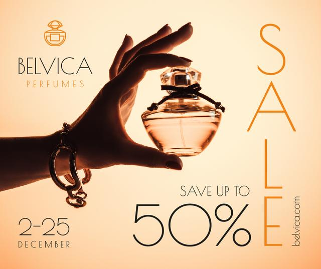 Template di design Sale Offer with Woman Holding Perfume Bottle Facebook