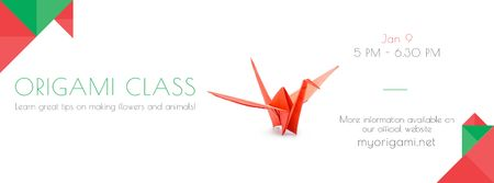 Plantilla de diseño de Origami class Invitation Facebook cover