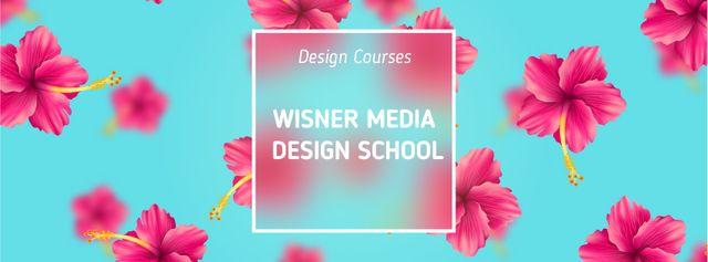 Plantilla de diseño de Falling hibiscus flowers with frame Facebook Video cover