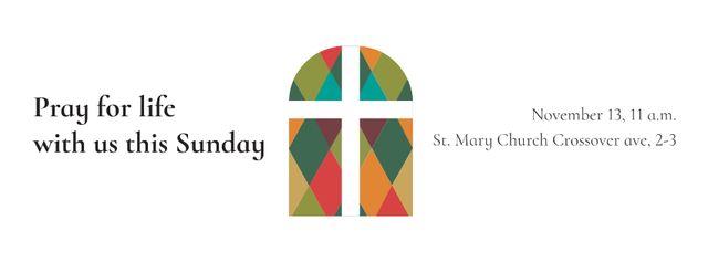Invitation to Pray with Church Window Facebook cover Modelo de Design