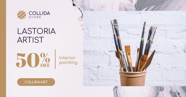 Art Equipment Sale with Supplies and Brushes Facebook AD – шаблон для дизайна