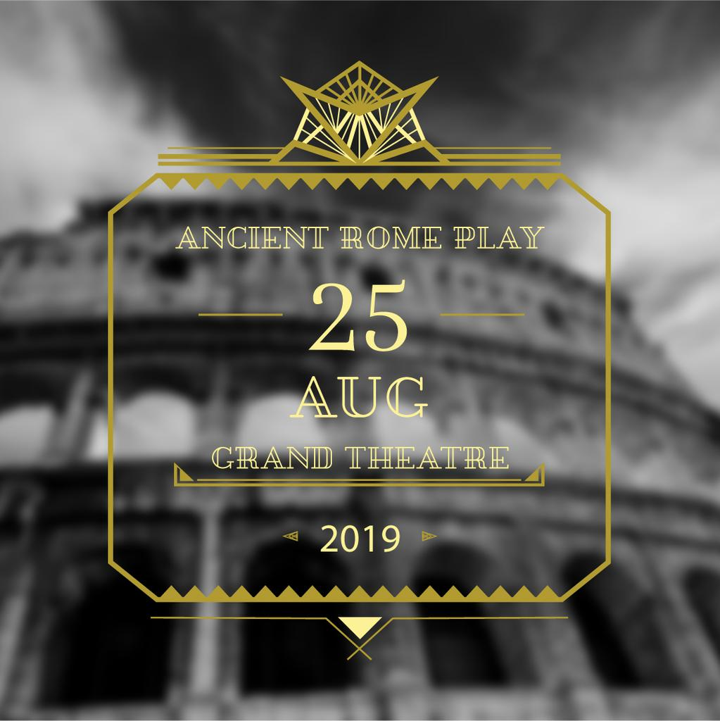 Theater invitation with ancient Coliseum — Create a Design