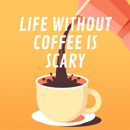 Pouring Coffee in Cup Animated Post Modelo de Design