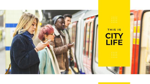 Modèle de visuel People with gadgets in subway - Presentation Wide