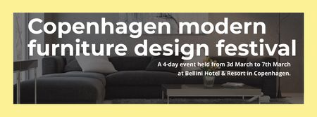 Interior Decoration Event Announcement with Sofa in Grey Facebook cover Tasarım Şablonu