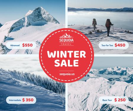 Winter Tour offer Hikers in Snowy Mountains Facebook Design Template